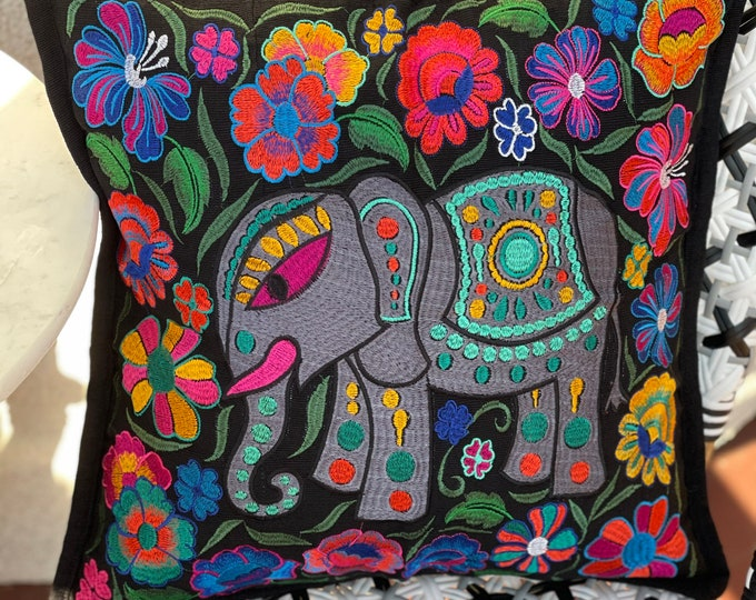 """Featured listing image: Single 18"""" Embroidered Black Regal Elephant Decorative Pillow Cover"""