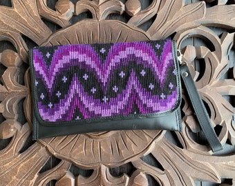 Deep Purple Stars and Moons Flemenco Clutch Black Leather Crossover Clutch with Shoulder Strap