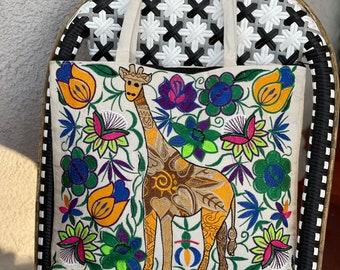 Medium Ivory Giraffe Embroidered Panel Vegan Market Tote