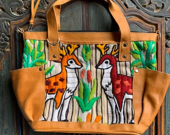 Be A Deer Mini Convertible Day Bag with soft tan leather shoulder strap and backpack straps