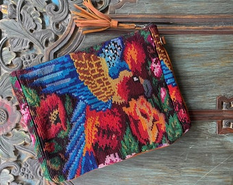 Parrots Roses and Poppies X-Large 3-in-1 Festival Bag with Soft Butterscotch Leather and Wristlet Strap and Crossbody Strap
