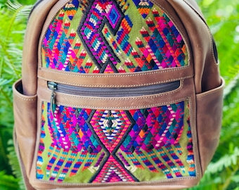 Firebird Huipil Marbled Brown Leather Small Backpack