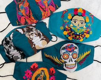 5 Piece Teal Jewel Tone Embroidered Huipil Masks