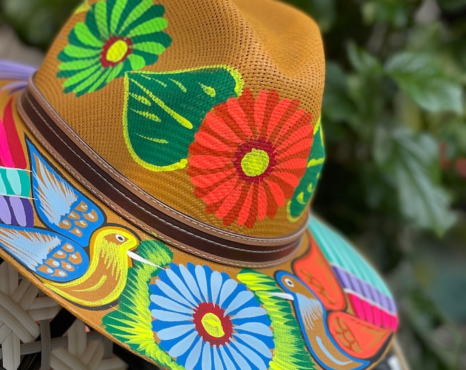 Featured listing image: Gold Peacocks Hand Painted Straw Fedora