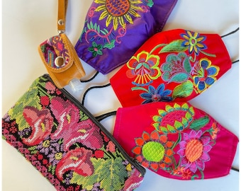 5 Piece Embroidered Huipil Masks, Carrying Pouch And Hand Sanitizer Wristlet Set