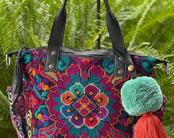 Adventurer's Prized Flower with Black Leather Medium Convertible Day Bag with leather shoulder strap and backpack straps