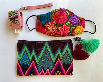 3 Piece Lux Huipil Mask, Carrying Pouch And Hand Sanitizer Wristlet Set