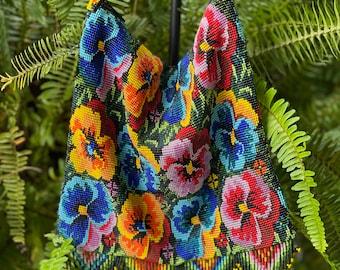 Pansy Floral Fantasy Garden Beaded Crossbody