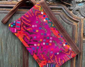 Boxy But Good Fuschia and Orange Phoenix Huipil Wristlet with Brown Leather