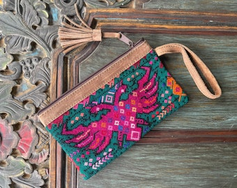 Boxy But Good Watermelon Emerald Green and Hot Pink Phoenix Huipil Wristlet with Brown Leather