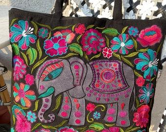 Medium Black Regal Elephant Embroidered Panel Vegan Market Tote