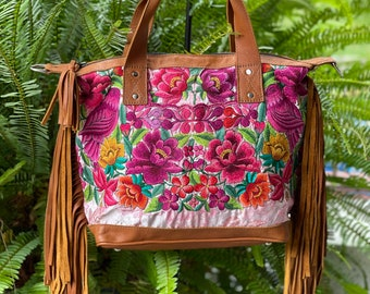 Magnificent Magenta Birds and Foliage with Butterscotch Leather Large Convertible Day Bag CDB