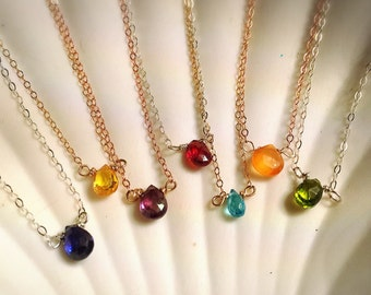 Mermaid's Tear Precious Gemstone Solitaire Necklace Pick Your Color