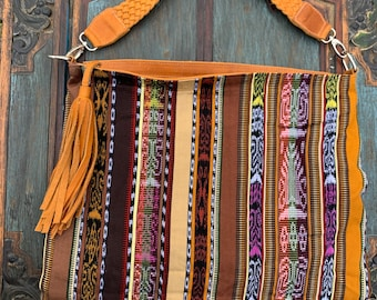 Sedona Stripe Ideal Hobo Starlight Bag with Tan Leather