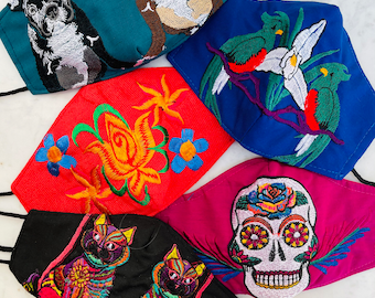5 Piece Bohemian Embroidered Huipil Masks