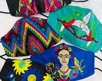 5 Piece Ebony Boho Rainbow Embroidered Huipil Masks