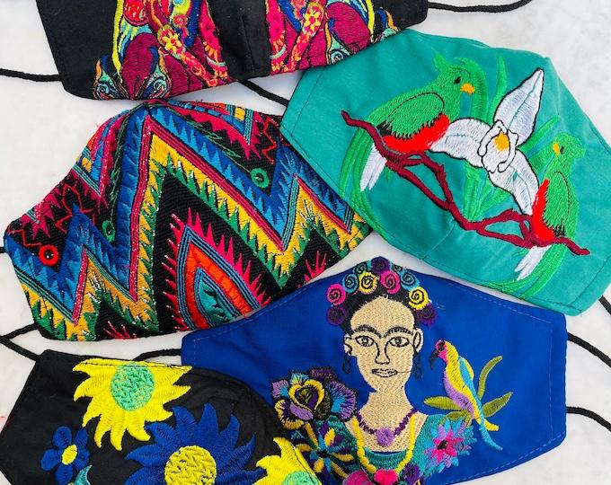 Featured listing image: 5 Piece Ebony Boho Rainbow Embroidered Huipil Masks