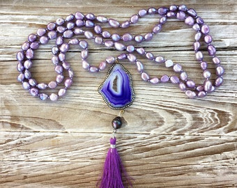Violet Dream Agate Druzy and Pearl Gold Vermeil Silk Tassel Necklace
