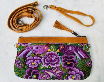 Purple Gardens Convertible Clutch with Tan Leather and Wristlet Strap