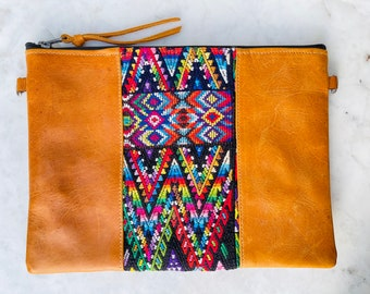 Rainbow Mountains X-Large 3-in-1 Festival Bag with Tan Leather and Wristlet Strap and Crossbody Strap