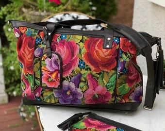 Rose Marie Weekender Bag SET with Black Full Grain Leather