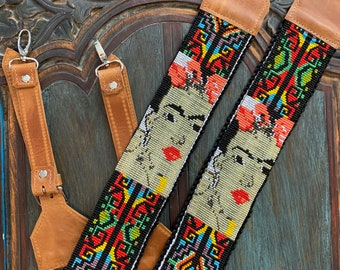 Beaded Iron Lattice Frida Kahlo Inspired Backpack Straps with Tan Leather