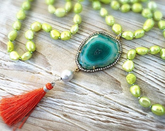 Tropical Agate Druzy and Pearl Gold Vermeil Silk Tassel Necklace