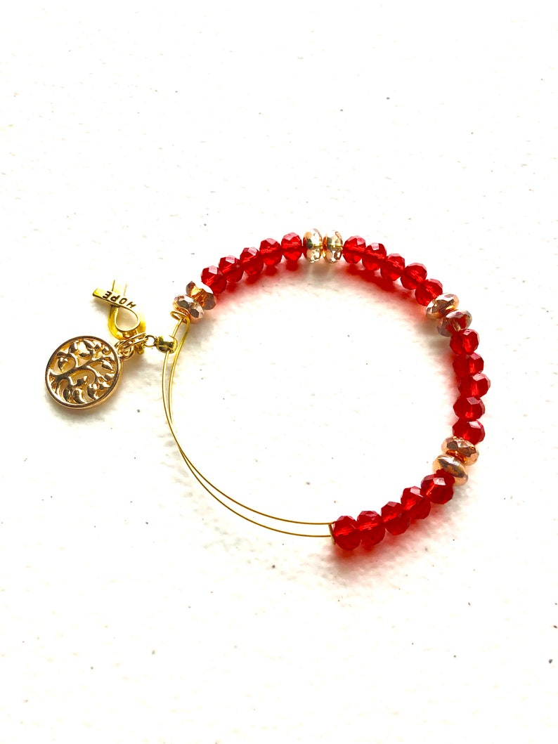 Blood Cancer  Clotting Factor Disorders  CHF Red Crystal Beaded Expandable Wire Bangle Awareness Bracelet Memory Wire Awareness Bracelet