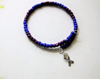 Blue & Purple Minimalist Awareness Hope Bead Bracelet Memory Wrap Bracelet Pre-eclampsia Cult Awarness Rheumatoid Arthritis Pediatric Stroke