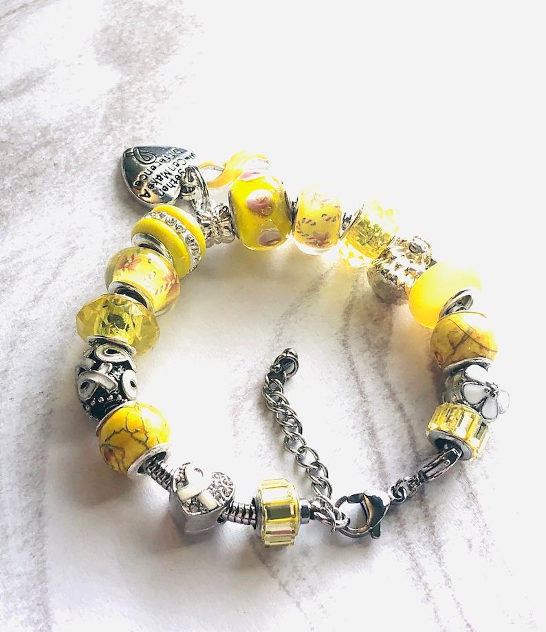 AdenosarcomaSarcomaSuicide Prevention Awareness Bracelets Yellow Awareness Bracelet European Style Bracelet Cancer Support ALL SIZES