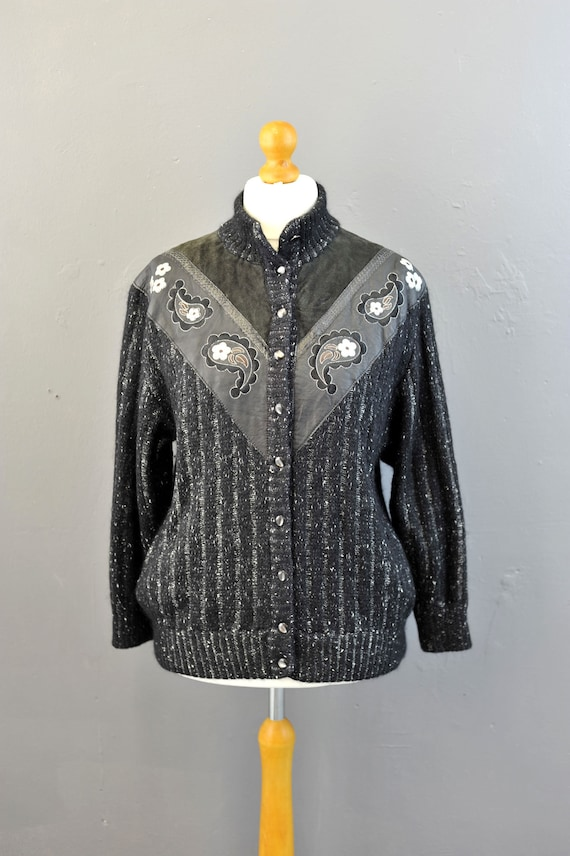80s Embroidered Mohair Cardigan with Leather, Sued