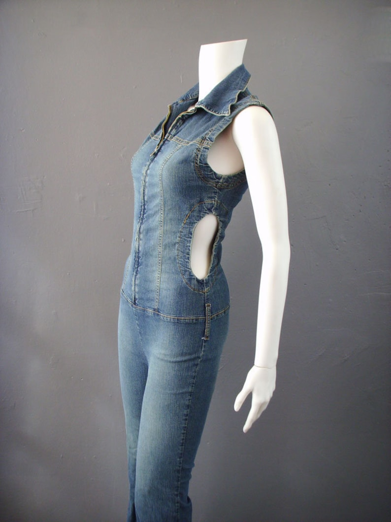 22b6e9ef5e60 90s Flared Denim Jumpsuit with Waist Cut Outs Retro Bell