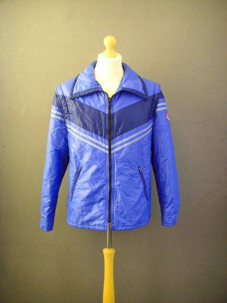 8426f8958 Mens Luhta Ski Jacket, 70s Striped Winter Sports Coat, 42 to 44 Chest