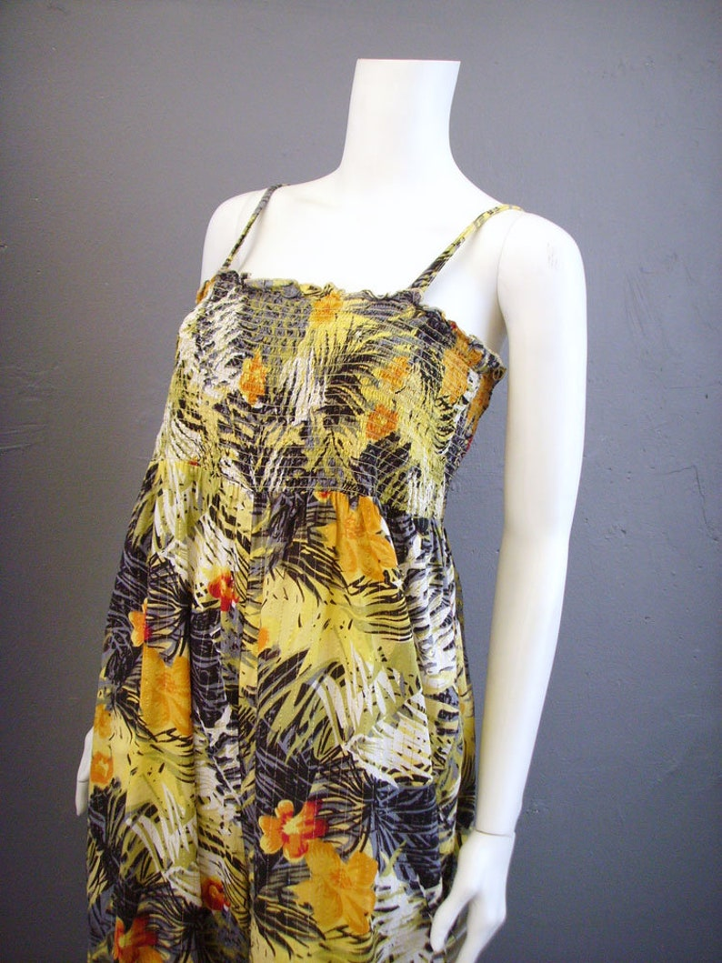 Strappy Tropical Print Jumpsuit 90s Floral Jungle One Piece Size Medium to XL
