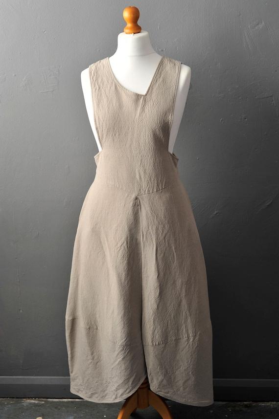 Y2K Linen Pinafore Dress, Lagenlook Walter Krines,