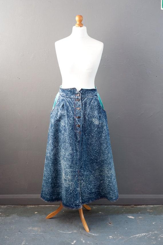 80s Acid Wash Denim Maxi Skirt with Aqua Corduroy