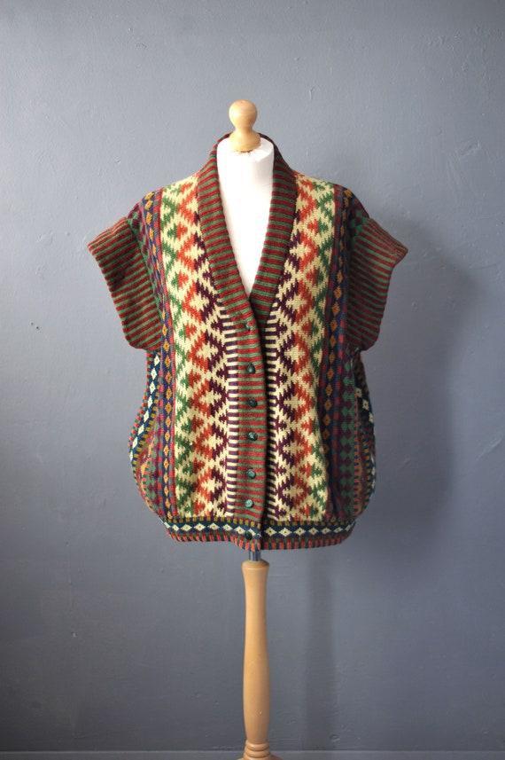 90s Maggie White Cardigan Vest, Oversized Chenille