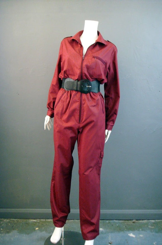 80s Utilitarian Jumpsuit, Burgundy Red Coveralls,