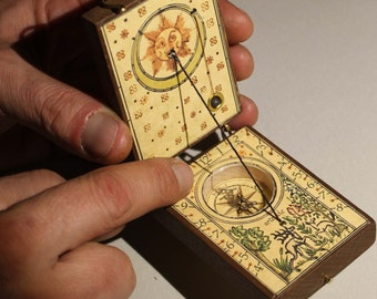 Antique traveler sundial compass. Solar calendar watch, gift for educational, geography, cosplay, steampunk, collection, adventure,