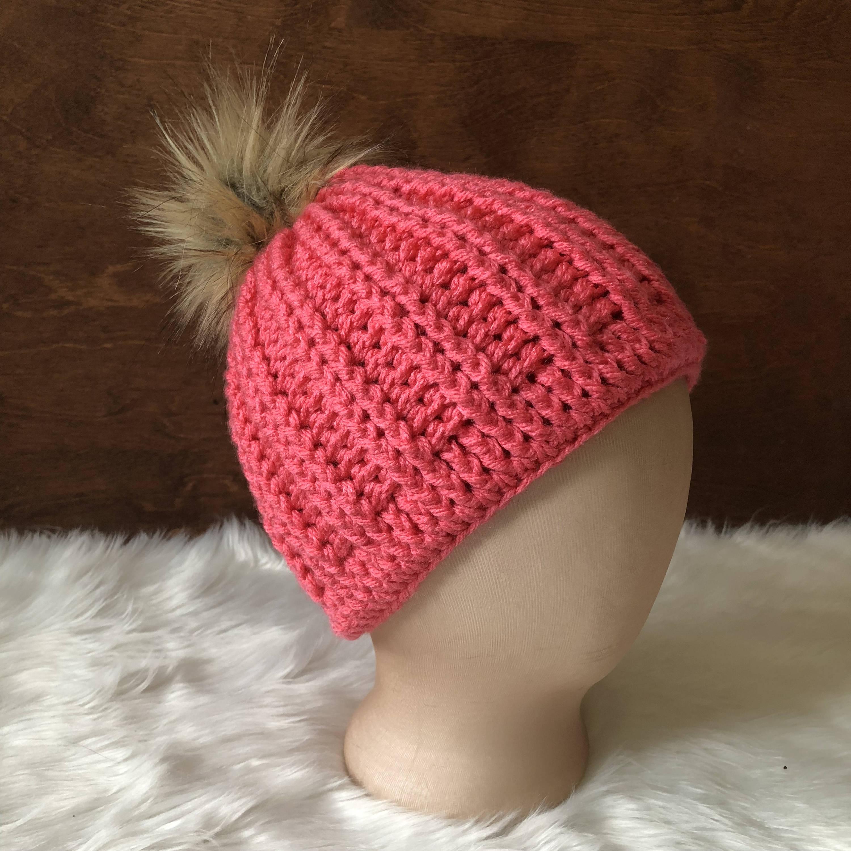 pink fur pompom hat faux fur pompom beanie fur pom pom hat  bf61abcbac6