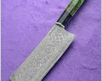 Baldur pattern Damasteel nakiri dyed  stablized  Birch and maple handle