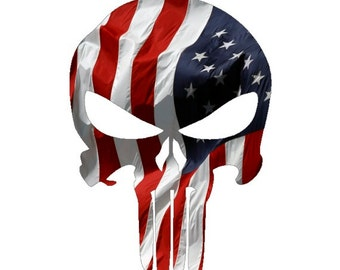6f66b4251bd Punisher Skull American Flag Military Decal Sticker Graphic in 5 Sizes