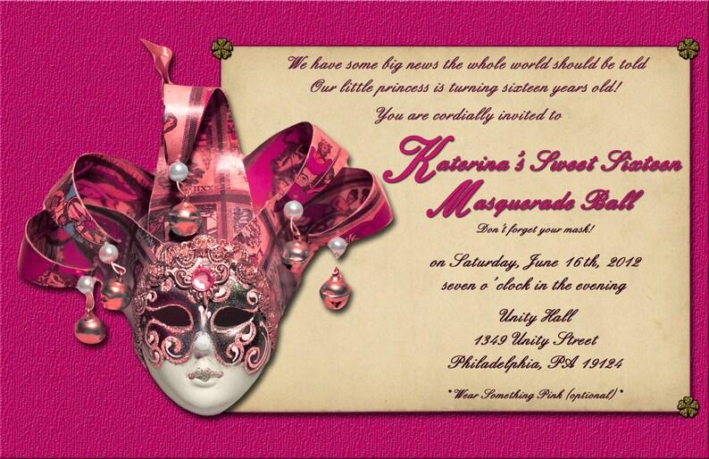 Pink Masquerade Sweet 16 Invitation Digital Or Printed