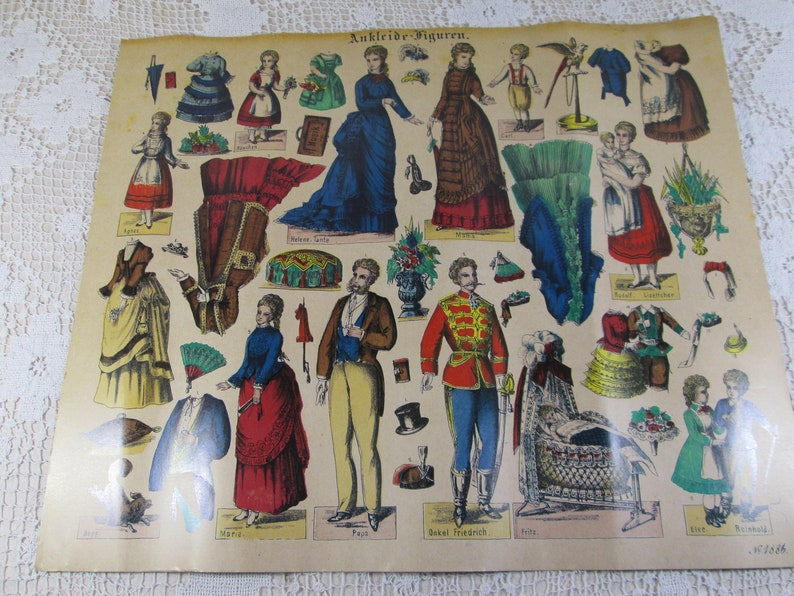 Set of 3 Vintage 1970/'s Reproductions of 1800/'s German Color Paper Doll /& Costumes Sheet Published by Schreiber