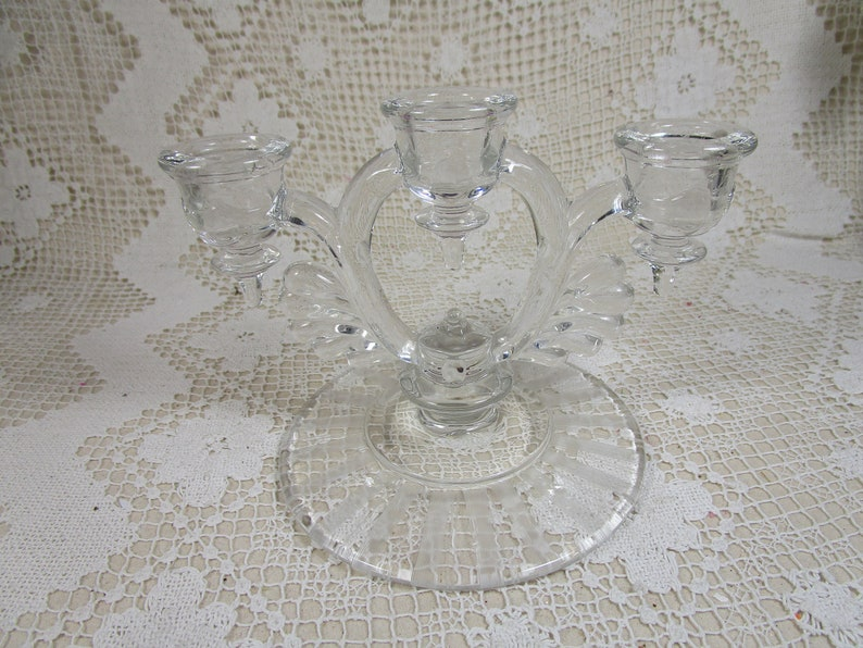 373 Crystal Clear 5 Candelabra Pressed Pattern Glass Wheel Etched Base 3 Light Candleholder Moondrops No New Martinsville Glass Co.