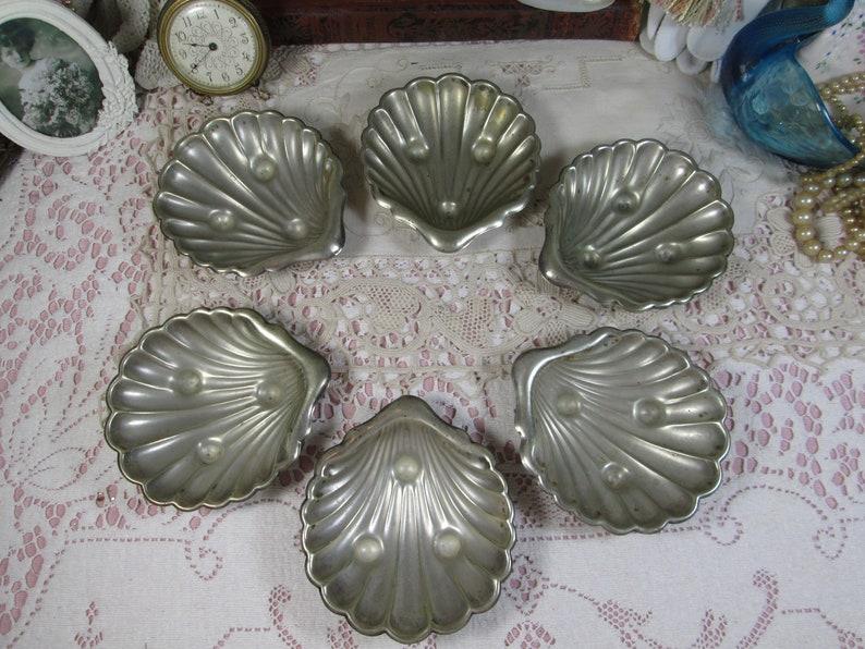Set of 6 Sea Shell Shape Holders Silver Plated Oyster Shell Servers Seafood Servers
