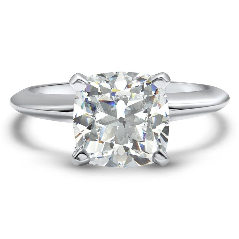 Cushion Cut Engagement Ring 14k White Gold Cz Engagement Ring Cubic Zirconia Engagement Solitaire Engagement Ring Cz Cushion Cut Bridal