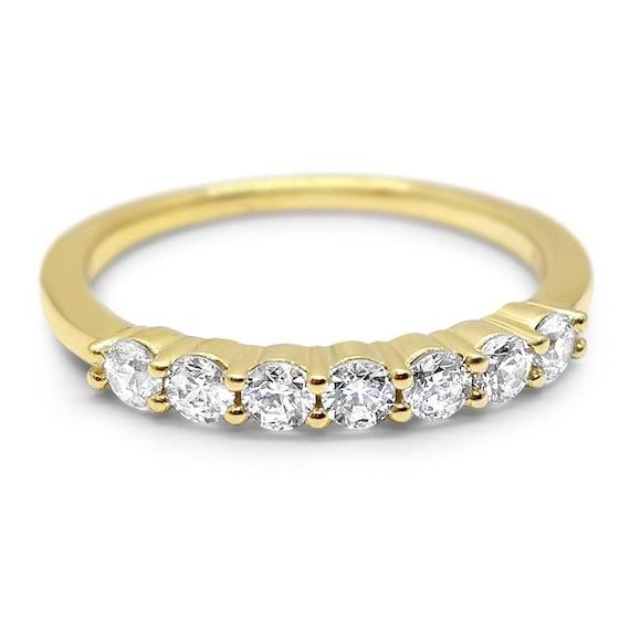 14k Yellow Gold Diamond Stacking Wedding Band Stackable Band Etsy