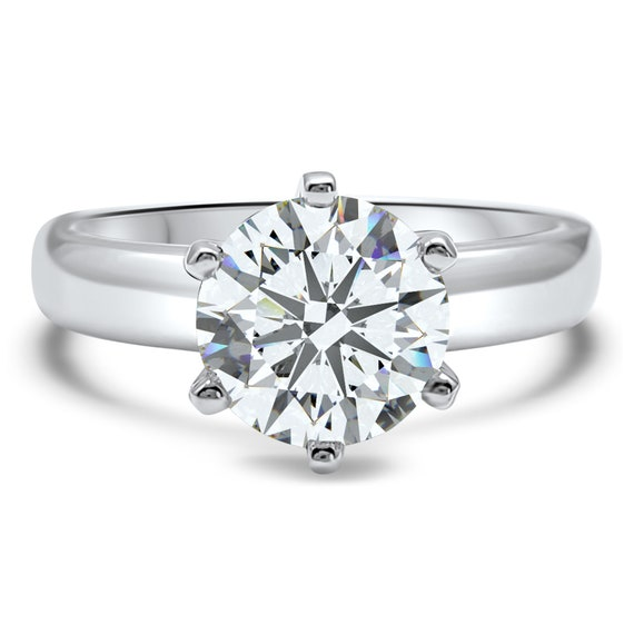 2.50CT 6Prong Solitaire Moissanite Engagement Ring Wedding Set In 14k White Gold