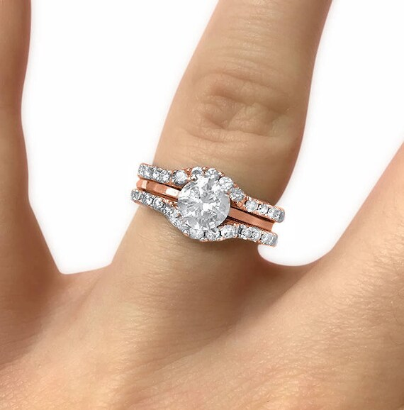 14k Rose Gold Set Of 2 Curved Moissanite Wedding Rings Ring Etsy